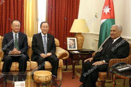 Abdullah Ensour, Ban Ki-Moon, Jim Yong Kim Jordanian Prime Minister Abdullah Ensour, right, meets with U.N. Secretary General Ban Ki-Moon, center, and World Bank President Jim Yong Kim, at the prime minister's office in Amman Jordan
