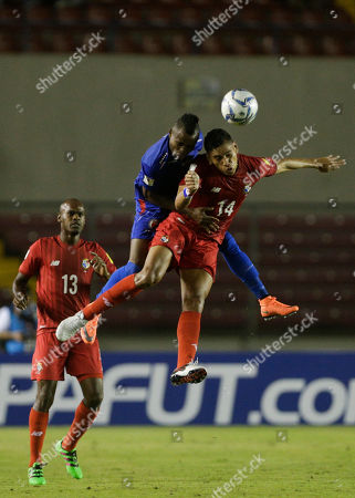 Valentin Pimentel, Wilde-Donald Guerrier Panama's Valentin Pimentel, front right, and Haiti's Wilde-Donald Guerrier head the ball during a 2018 Russia World Cup qualifying soccer match in Panama City