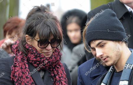 Sophie Marceau French actress Sophie Marceau, center and son Vincent attends the funeral of her former long-time partner, Polish film director Andrzej Zulawski, in Gora Kalwaria, Poland