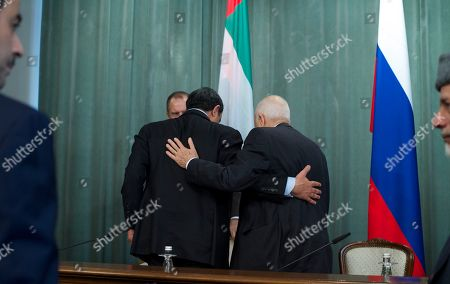 Nabil al-Araby, Abdullah bin Zayed Al Nahyan UAE Foreign Minister Sheikh Abdullah bin Zayed Al Nahyan, center left, huges with Secretary-General of the Arab League Nabil al-Araby, center right, after a news conference after Russian-Arab forum in Moscow, Russia, on