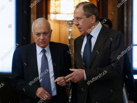 Sergey Lavrov, Nabil Elaraby Russian Foreign Minister Sergey Lavrov greets Arab League's Secretary-General Nabil Elaraby, left, during their meeting in Moscow, Russia, on