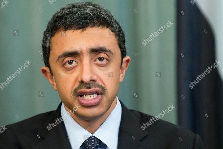 Abdullah bin Zayed Al Nahyan United Arab Emirates Foreign Minister Abdullah bin Zayed Al Nahyan speaks to the media during his, Russian Foreign Minister Sergey Lavrov and Arab League's Secretary-General Nabil Elaraby news conference after the Russian-Arab Cooperation Forum in Moscow, Russia