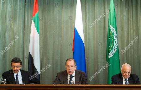 Sergey Lavrov, Abdullah bin Zayed Al Nahyan, Nabil Elaraby Russian Foreign Minister Sergey Lavrov, center, United Arab Emirates Foreign Minister Abdullah bin Zayed Al Nahyan, left, and Arab League's Secretary-General Nabil Elaraby, right, attend a news conference after the Russian-Arab Cooperation Forum in Moscow, Russia