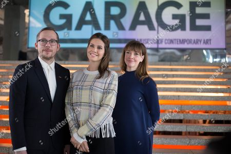 Dasha Zhukova, Kate Fowle, Anton Belov Dasha Zhukova, center, founder of the Garage Museum of Contemporary Art, poses with Kate Fowle, Chief Curator at the museum, and Director Anton Belov, in the Garage Museum of Contemporary Art in Moscow, Russia, . A new series of exhibits opens on March 17, 2016, at the Garage Museum of Contemporary Art in Moscow, including the parcel-sized replica concrete cube meant to house decayed nuclear waste by American artist Taryn Simon