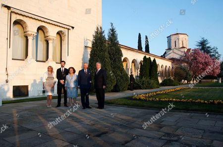Stock Photo of Heir to Serbia's defunct throne, Crown Prince Aleksandar Karadjordjevic, right, his wife Crown Princess Katherine, third left, her daughter Alison Andrews, left, and son Petar, second left, pose with Britain's Prince Charles in the Royal Palace in Belgrade, Serbia, . The royal couple is on official visits to Croatia, Serbia, Montenegro and Kosovo
