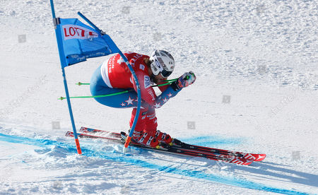 Wiley Maple of the United States during a men's World Cup super-G race, also a test event of the Pyeongchang 2018 Winter Olympics, at the Jeongseon Alpine Centre in Jeongseon, South Korea
