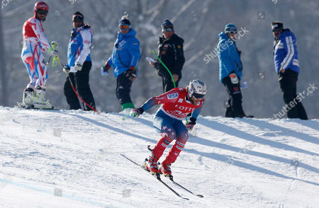 Wiley Maple of the United States is airborne during a men's World Cup super-G race, also a test event of the Pyeongchang 2018 Winter Olympics, at the Jeongseon Alpine Centre in Jeongseon, South Korea