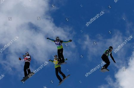 Belle Brockhoff, Nelly Loccoz Moenne, Chloe Trespeuch, Eva Samkova Belle Brockhoff, right, Nelly Loccoz Moenne, second right, Chloe Trespeuch, second left back, and Eva Samkova, left, compete during the final Ladies Snowboard cross at the FIS Snowboard cross World Cup at the Baqueira Beret ski station, Spain