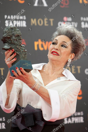 "Luisa Gavasa Spanish actress Luisa Gavasa holds her Goya prize after winning the best supporting actress award for her role in the film ""La Novia"" at the Goya Film Awards Ceremony in Madrid, Spain, . The Goya Awards are Spain's main national annual film awards"
