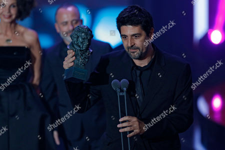 """Cesc Gay Director Cesc Gay holds his Goya trophy after winning the best film award for his film """"Truman"""" during the Goya Film Awards Ceremony in Madrid, Spain, . The Goya Awards are Spain's main national annual film awards"""