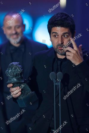 """Cesc Gay Director Cesc Gay holds his Goya trophy after winning the best director award for his film """"Truman"""" during the Goya Film Awards Ceremony in Madrid, Spain, . The Goya Awards are Spain's main national annual film awards"""