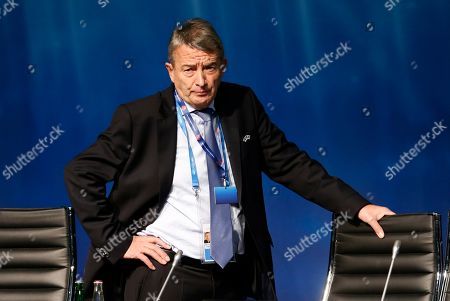 Former president of the German Soccer Federation DFB, Wolfgang Niersbach, waits for the beginning of a UEFA meeting in Zurich, Switzerland, . The Sepp Blatter era at FIFA is set to finally end Friday, Feb. 26, 2016 when soccer's scandal-scarred world body picks a new president after nine months of crisis