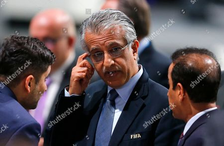 FIFA presidential candidate Sheikh Salman bin Ibrahim al-Khalifa of Bahrain ponders after the first round of the election during the extraordinary FIFA congress in Zurich, Switzerland, . Delegates of the soccer body FIFA meet to elect a new president