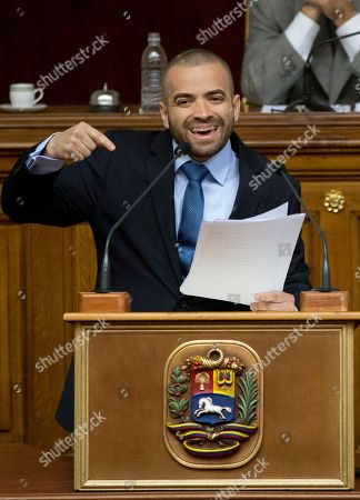 """Miguel Ignacio Mendoza Donatti Miguel Ignacio Mendoza Donatti, also known by his artist's name """"Nacho"""" from the singing duo """"Chino y Nacho,"""" delivers a speech, during a special session of Youth Day at the National Assembly in Caracas, Venezuela"""