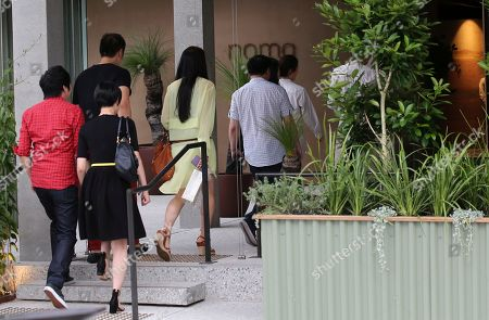 Stock Picture of Patrons arrive at the pop up restaurant Noma Australia in Sydney, Australia, . Danish chef Rene Redzepi opened Noma Australia at Barangaroo today, Australia Day 2016 and will run for 10 weeks with all 5500 seats pre sold at a cost of $485 per person