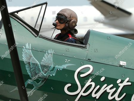 British aviator Tracey Curtis-Taylor taxies her 1942 Boeing Stearman Spirit of Artemis aircraft after she arrived at Sydney Airport in Sydney, Australia, . The 53 year-old aviator set out from Britain in October 2015 to recreate Amy Johnson's 1930 flight from Britain to Australia, a 13,000-mile solo flight in a vintage open cockpit biplane fling across 23 countries