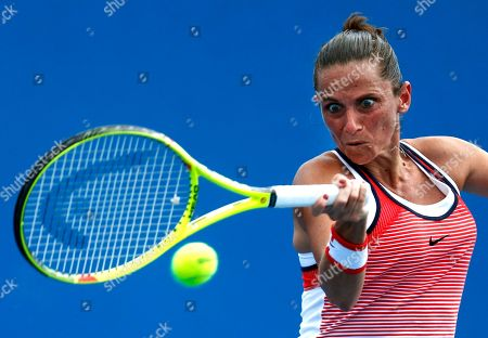 Roberta Vinci Roberta Vinci of Italy makes forehand return to Tamira Paszek of Austria during their first round match at the Australian Open tennis championships in Melbourne, Australia