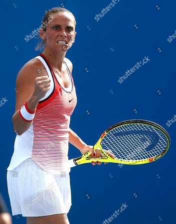 Roberta Vinci Roberta Vinci of Italy reacts after winning a point against Tamira Paszek of Austria during their first round match at the Australian Open tennis championships in Melbourne, Australia