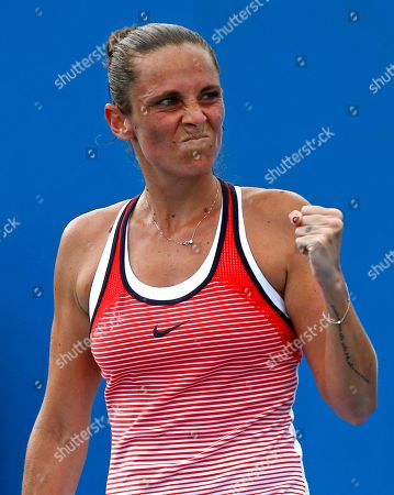 Stock Picture of Roberta Vinci Roberta Vinci of Italy celebrates after defeating Tamira Paszek of Austria during their first round match at the Australian Open tennis championships in Melbourne, Australia