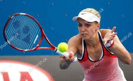 Sabine Lisicki Sabine Lisicki of Germany makes a forehand return to Petra Cetkovska of the Czech Republic during their first round match at the Australian Open tennis championships in Melbourne, Australia