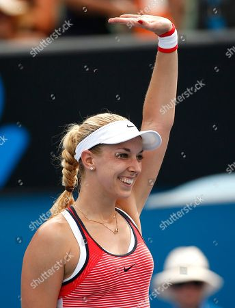 Sabine Lisicki Sabine Lisicki of Germany celebrates after defeating Petra Cetkovska of the Czech Republic during their first round match at the Australian Open tennis championships in Melbourne, Australia