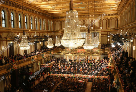 Overview of the traditional New Year's concert with the Vienna Philharmonic Orchestra and Latvian Maestro Mariss Jansons at the golden hall of the Musikverein in Vienna, Austria