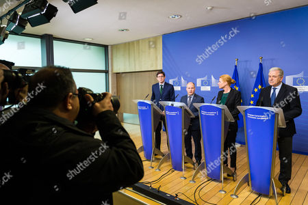 Ole Schroder, Inger Stojberg, Morgan Johannson, Dimitris Avramopoulos EU Commissioner in charge of Migration, Home Affairs and Citizenship Dimitris Avramopoulos, right, addresses the media with Swedish Minister for Justice and Migration Morgan Johannson, 2nd left, Danish Minister for Immigration, Integration and Housing Inger Stojberg, 2nd right, and Parliamentary Secretary of State at the German Federal Ministry for the Interior Ole Schroder after a meeting on border control at the EU Commission in Brussels on