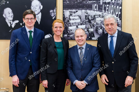 Ole Schroder, Inger Stojberg, Morgan Johannson, Dimitris Avramopoulos EU Commissioner in charge of Migration, Home Affairs and Citizenship Dimitris Avramopoulos, right, poses for photographers with Swedish Minister for Justice and Migration Morgan Johannson, 2nd right, Danish Minister for Immigration, Integration and Housing Inger Stojberg, 2nd left, and Parliamentary Secretary of State at the German Federal Ministry for the Interior Ole Schroder prior to a meeting on border control at the EU Commission in Brussels on