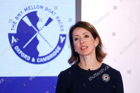 Helena Morrissey, Chief Executive Officer of Newton Investment Management, speaks during a press conference in London, . BNY Mellon and Newton Investment Management, sponsors of The Boat Races, announced Tuesday that they are donating their title sponsorship of the annual challenge between Oxford and Cambridge Universities to Cancer Research UK (CRUK), the official charity partner