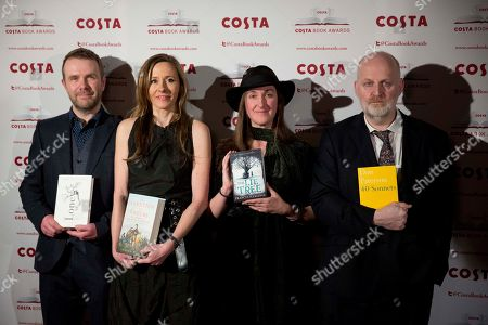 Stock Photo of The winner of the first novel category Andrew Michael Hurley, left, with his book 'The Loney' and from left, biography category winner Andrea Wulf with her book 'The Invention of Nature', children's book category winner Frances Hardinge with 'The Lie Tree' and poetry category winner Don Paterson with his book '40 Sonnets' pose for photographs at the Costa Book Awards in London