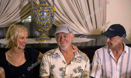 "Actors from the film ""Papa,"" Adrian Sparks, center, and Joely Richardson, left, attend a press conference to promote their movie with the film's director Bob Yarl in Havana, Cuba, . In the feature film about about Hemingway's life, Sparks plays the role of Hemingway, and Richardson the role of his wife Mary, in the first Hollywood movie shot in Cuba in 45 years"