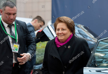 Stock Image of Latvian Prime Minister Laimdota Straujuma arrives for an EU summit in Brussels on . European Union heads of state meet Thursday to discuss, among other issues, the current migration crisis and terrorism