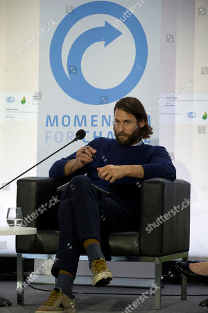 David de Rothschild, UNEP Climate Hero attends a roundtable discussion on communicating climate change during the COP21, United Nations Climate Change Conference in Le Bourget, north of Paris, France