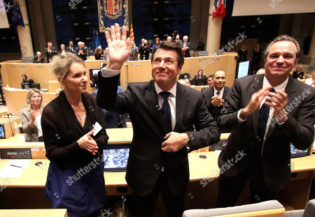 Christian Estrosi French right-wing party Les Republicains Christian Estrosi, center, surrounded by Renaud Muselier, right, and Chantal Eymeoud, blows a kiss to the audience after his election as president of the Regional Council for the Provence-Alpes-Cote d'Azur region, in Marseille, southern France, Friday, Dec.18, 2015. While voters may have denied the anti-immigration party the leadership of any of the country's regions last Sunday, it picked up more votes than ever before, leaving opponents scrambling for a strategy to counter it