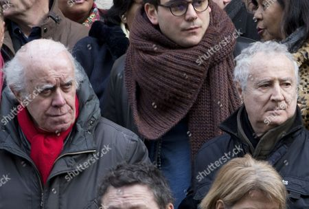 French actors Jacques Balutin, left, and Daniel Prevost attend the funerals of French actor Michel Galabru in Paris