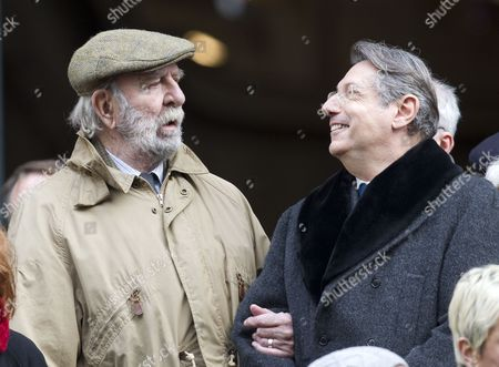 French actor Jean-Pierre Marielle, left, attends the funerals of French actor Michel Galabru in Paris