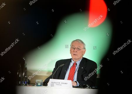 Canadian Richard Pound, Chairman of WADA's (World Anti-Doping Agency) Independent Commission (IC), presents the findings of his Commission's Report surrounding allegations of doping in sport, during a press conference in Munich, Germany, on