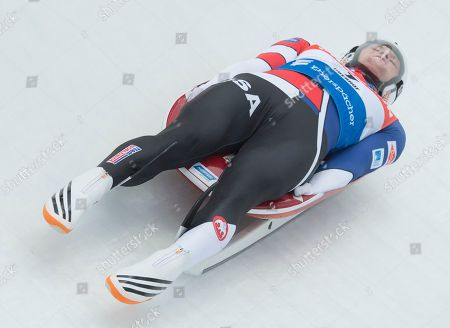 Aidan Kelly of the U.S. competes during the men's luge World Cup race in Oberhof, central Germany