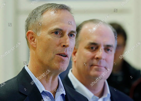 U.S. Representatives Dan Kildee, right, and Jared Huffman talk to media people at the Landstuhl Regional Medical Center in Landstuhl, Germany, . Four U.S. citizens who were released from an Iranian prison where transferred to Landstuhl for medical treatment