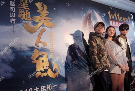 "Stephen Chow, Show Lo, Lin Yun Hong Kong director Stephen Chow, left, Chinese actress Lin Yun, center, and Taiwanese actor Show Lo pose for photographers during a promotional event for their new film ""Mermaid"" in Hong Kong"