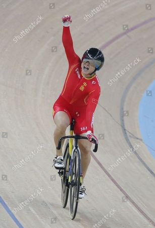 Mark Cavendish Lin Junhong of China celebrates after winning the gold medal of the Women's Sprint competition during the UCI Track Cycling World Cup in Hong Kong
