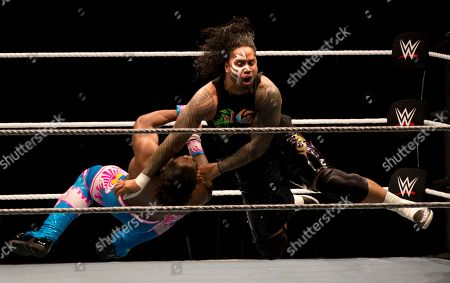 Jimmy Usos, Kofi Kingston WWE wrestler Jimmy Usos, right, puts down Kofi Kingston during WWE Live India Tour, in New Delhi, . WWE returned to Indian after a gap of 13 years to entertain their fans