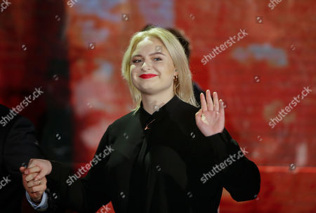 """British singer and song writer Holly Lapsley attends the Italian State RAI TV program """"Che Tempo che Fa"""", in Milan, Italy"""