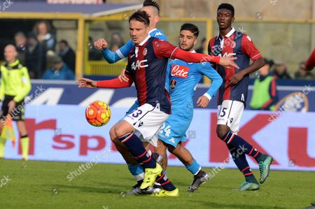 Bologna's Matteo Brighi controls the ball during a Serie A soccer match between Bologna and Napoli, at the Bologna Dall'Ara stadium, Italy