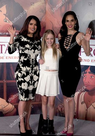 "Salma Hayek, Loreto Peralta, Sandra EcheverrÌa Mexican actress and producer Salma Hayek, from left, child actress Loreto Peralta, and Mexican actress and singer Sandra Echeverría, pose for pictures during a news conference to promote their movie ""The Prophet,"" in Mexico City, . Hayek produced and voices a character in the animated film adaptation of Lebanese writer Kahlil Gibran's 1923 book of prose poetry"