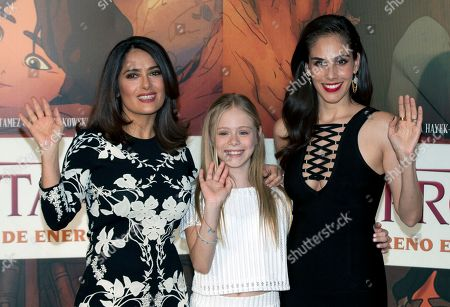 "Salma Hayek, Loreto Peralta, Sandra Echeverría Mexican actress and producer Salma Hayek, from left, child actress Loreto Peralta, and Mexican actress and singer Sandra Echeverría, pose for pictures during a news conference to promote their movie ""The Prophet,"" in Mexico City, . Hayek produced and voices a character in the animated film adaptation of Lebanese writer Kahlil Gibran's 1923 book of prose poetry"
