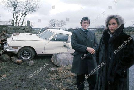 'Emmerdale'  TV - 1976 -  Bannerman's car crash Steven Bannerman [Jon Laurimore] and Heather Bannerman [Wanda Ventham]