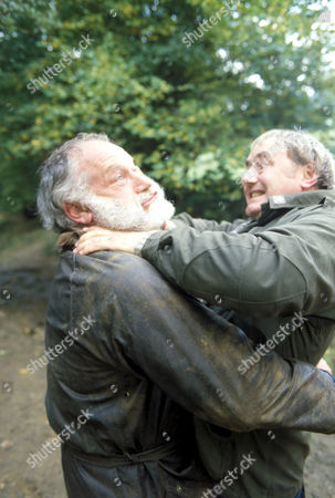 'Emmerdale'  TV - 1996 - Harry Mowlam [Godfrey Jones] and Matt Skilbeck [Frederick Pyne] fight.