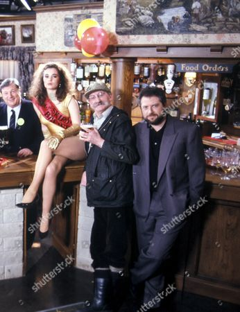'Emmerdale'  TV - 1991 -  The Re-opening of the Woolpack Tracy [Jayne Ashbourne]  Seth Armstrong [Stan Richards] and Charlie Aindow [David Fleeshman]