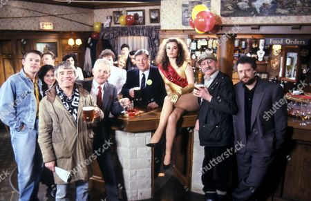 'Emmerdale'  TV - 1991 -  The Re-opening of the Woolpack Tracy [Jayne Ashbourne] with Archie Brooks [Tony Pitts], Zoe Tate [Leah Bracknell], Bill Middleton [Johnny Caesar], Eric Pollard [Christopher Chittell], Alan Turner [ Richard Thorp], Seth Armstrong [Stan Richards] and Charlie Aindow [David Fleeshman]